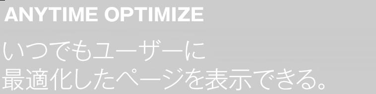 ANYTIME OPTMIZE - いつでもユーザーに最適化したページ表示を実現できる。